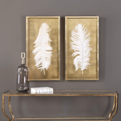 White Feathers, Set of Two